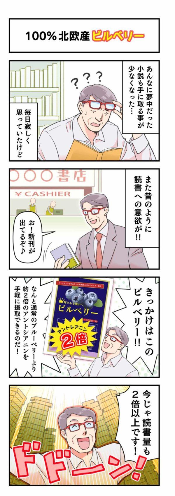 「ビルベリー」商品紹介4コマ漫画