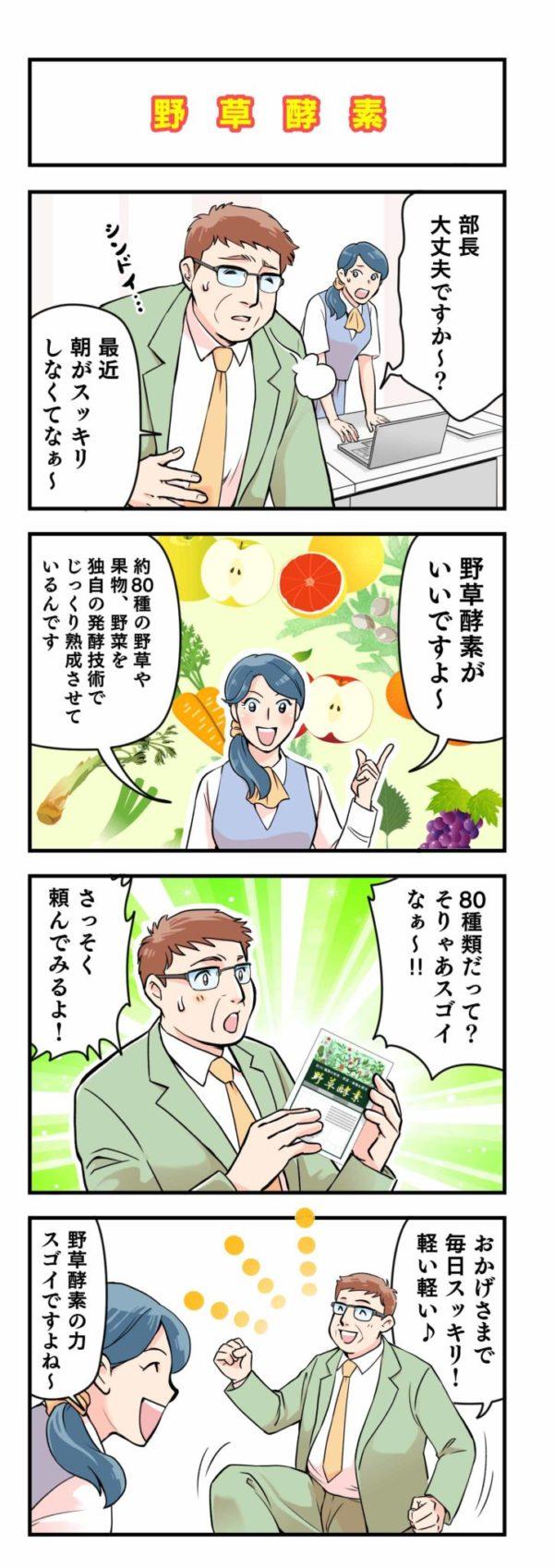 「野草酵素」商品紹介4コマ漫画